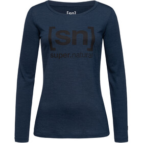 super.natural Essential I.D. LS Dam blue iris melange/jet black logo